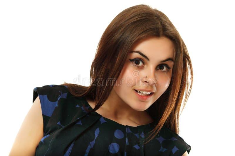 Belleza adolescente joven de la mujer aislada en blanco imagen de archivo libre de regalías
