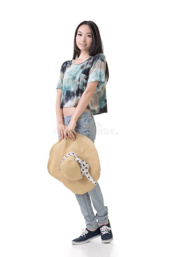 Belleza asiática con el sombrero imagen de archivo