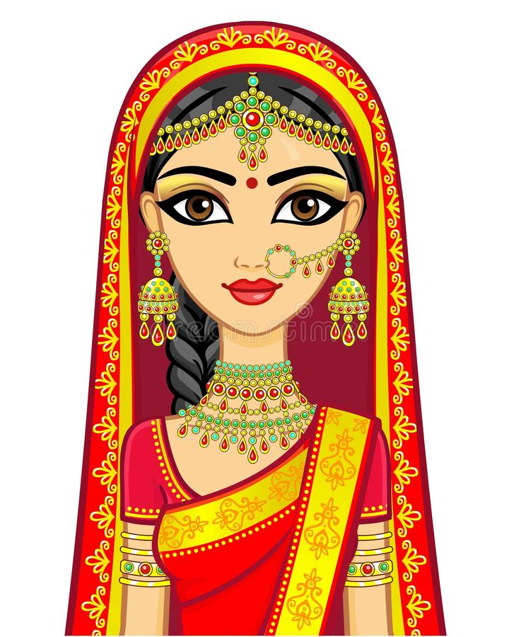 Belleza asiática Retrato de la animación de la muchacha india joven en ropa tradicional Princesa del cuento de hadas ilustración del vector