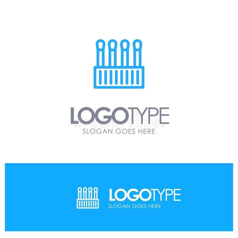 Belleza, brotes, cosmético, logotipo azul del esquema del algodón con el lugar para el tagline libre illustration