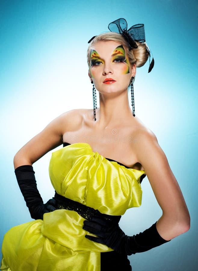 Belleza Con Cara-arte De La Mariposa Foto de archivo libre de regalías