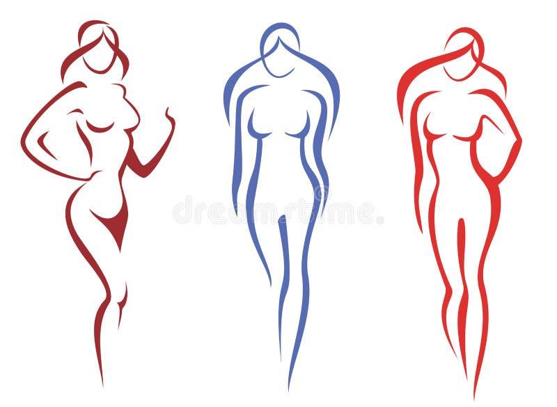 Belleza, concepto de la manera. conjunto de silhoettes de la mujer ilustración del vector