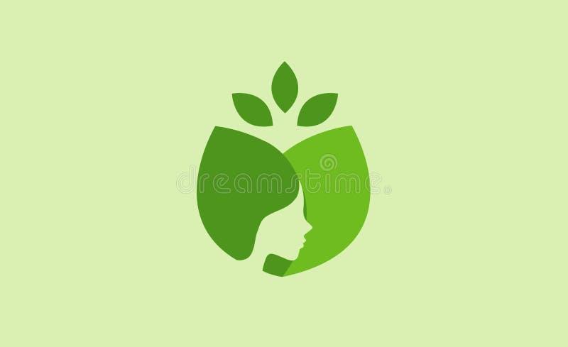 Belleza de la cara del verde de Zen Skin Logo Symbol Zen stock de ilustración