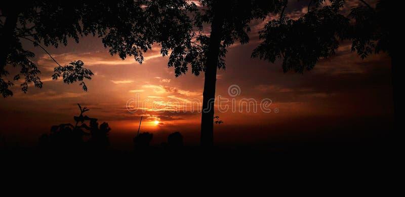 Belleza de la naturaleza de la puesta del sol foto de archivo libre de regalías