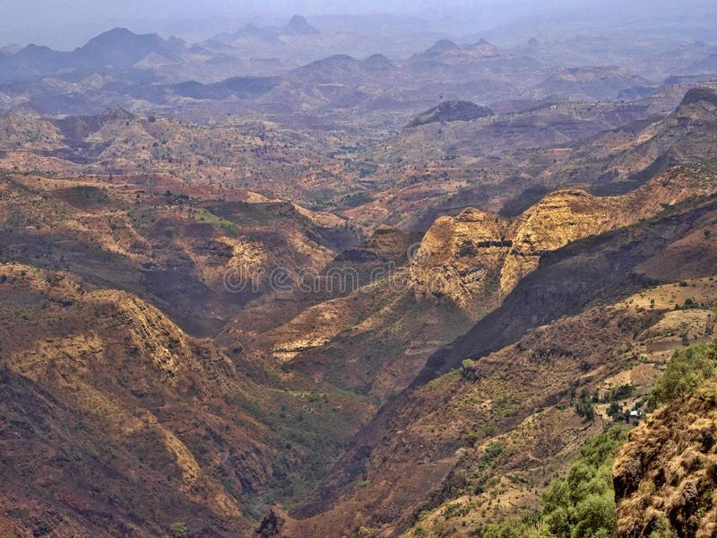 Belleza de un paisaje montañoso en Etiopía septentrional fotografía de archivo libre de regalías