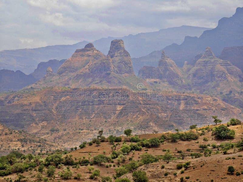 Belleza de un paisaje montañoso en Etiopía septentrional foto de archivo