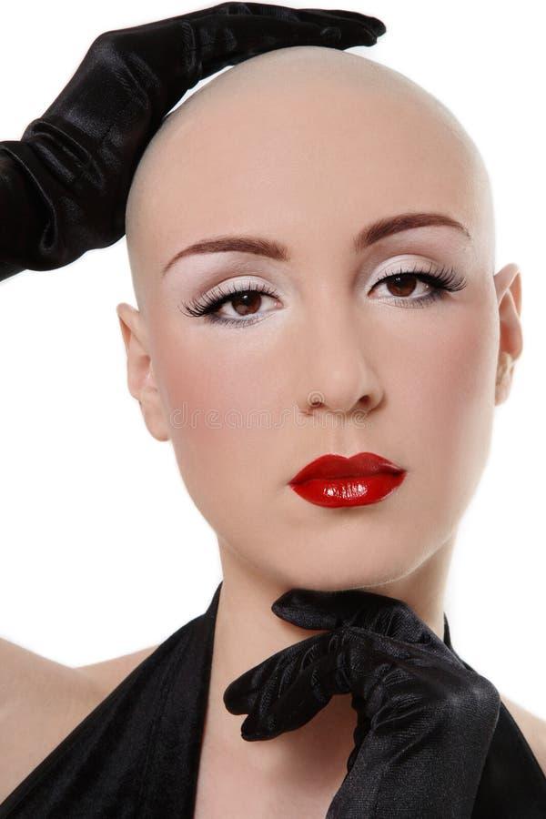 Belleza del cabeza rapada imagen de archivo