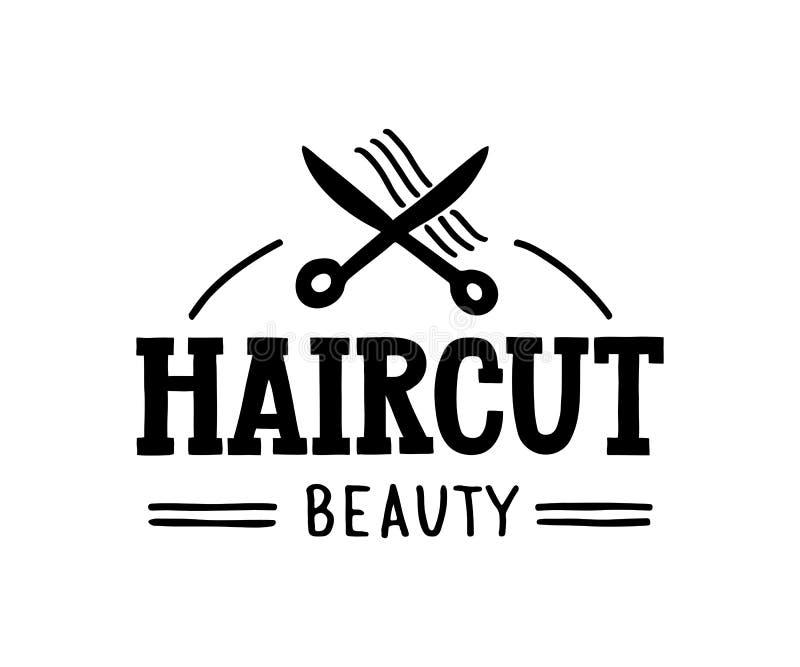 Belleza del corte de pelo - logotipo exhausto de la mano para el pelo y sal?n de belleza con las tijeras y los s?mbolos del pelo stock de ilustración