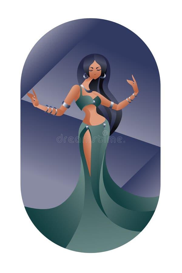 Belleza del este de la danza del vientre stock de ilustración