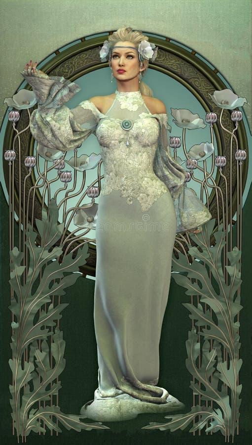 Belleza del Victorian en blanco stock de ilustración