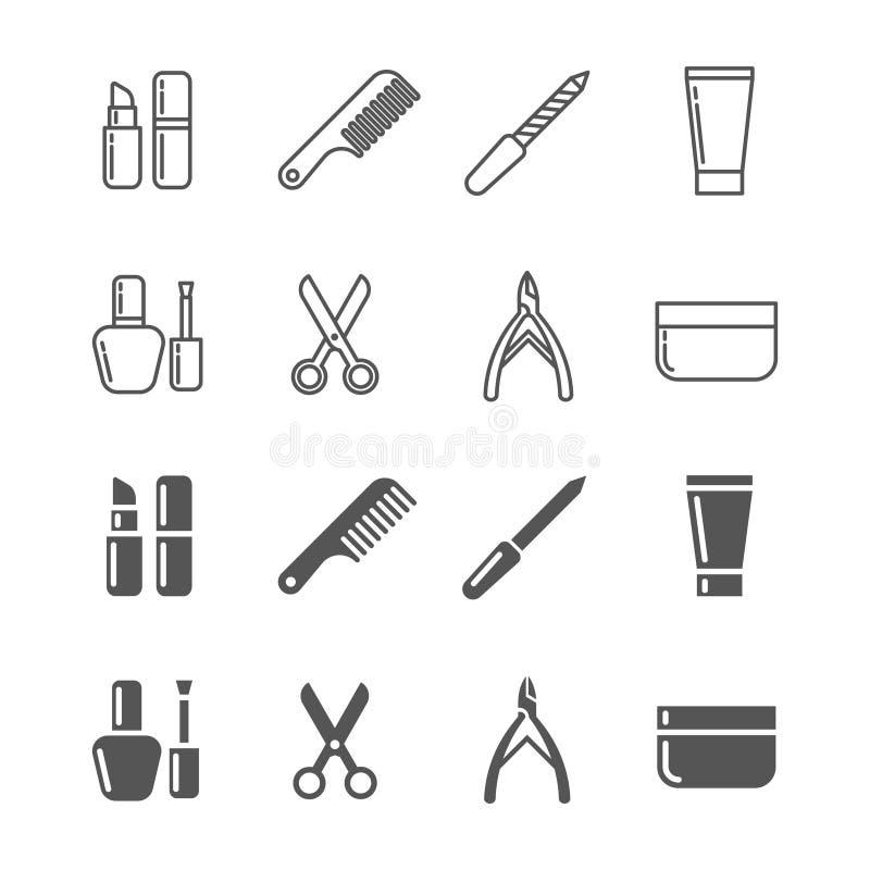 Belleza e iconos de los cosméticos - cosméticos de la línea y de la silueta fijados ilustración del vector