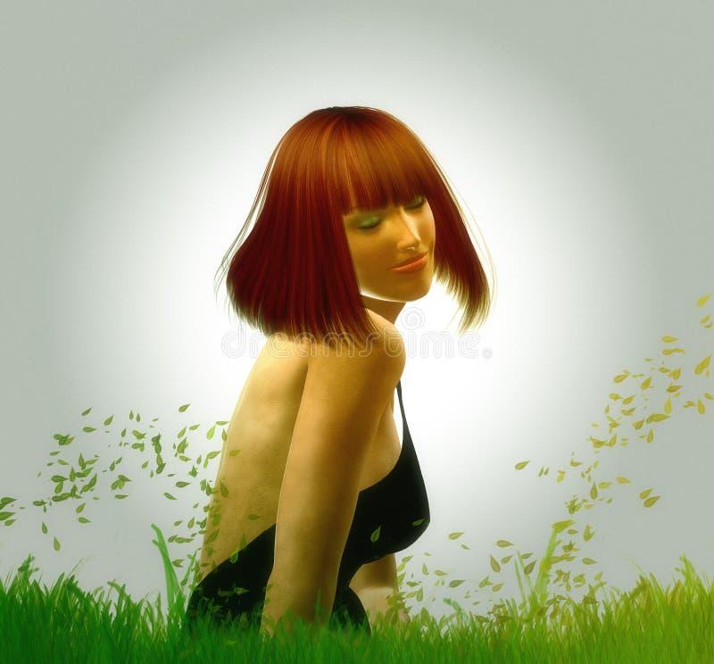 Belleza en el prado ilustración del vector