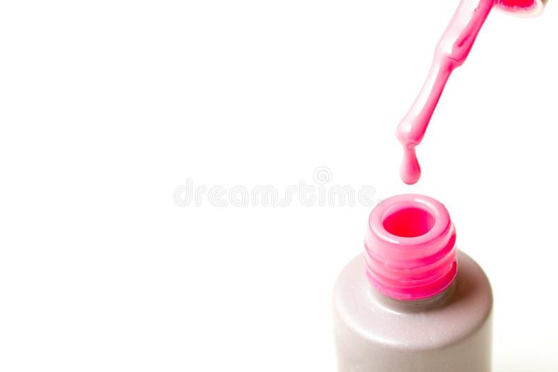 Belleza, moda y clavo Art Concept Manicure la botella del primer de las herramientas, cepíllela y descenso del esmalte de uñas ro fotografía de archivo