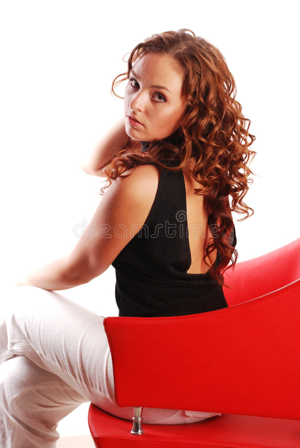 Belleza roja del pelo fotografía de archivo libre de regalías