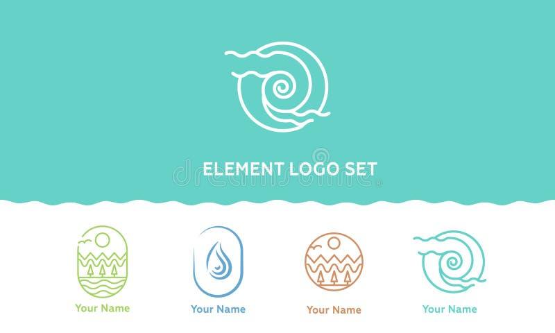 Belleza; sistema del logotipo de iconos lineares del vector de los elementos de la naturaleza Plantilla del logotipo del vector O stock de ilustración