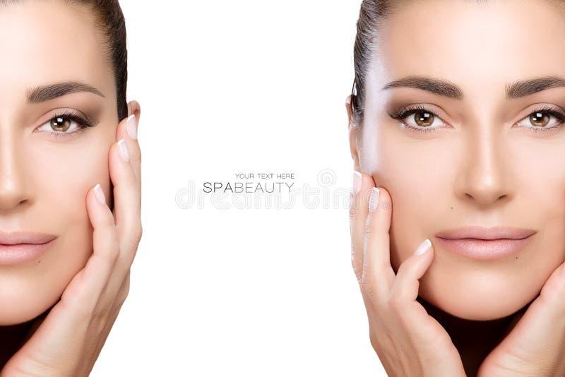 Belleza y concepto del skincare Dos retratos de la cara imagenes de archivo