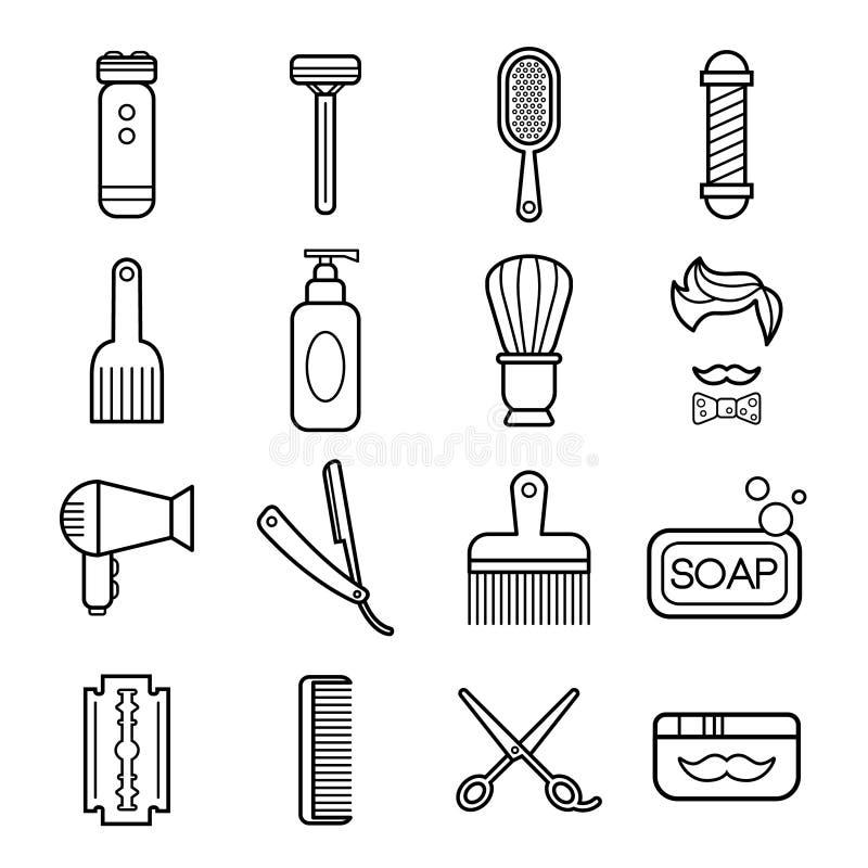 Belleza y cuidado Barber Shop Linear Icons stock de ilustración