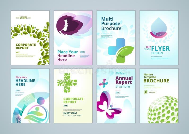 Belleza y diseño de la cubierta del folleto de los productos naturales y colección de las plantillas de la disposición del aviado stock de ilustración