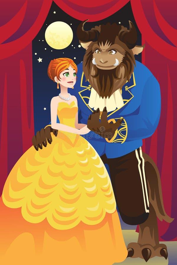 Belleza y la bestia stock de ilustración