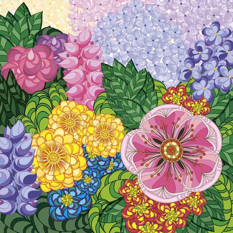 Belleza y moda de la tarjeta de felicitaci?n del ejemplo del vector Fondo con las flores y las hojas Zentangl, garabateando ilustración del vector