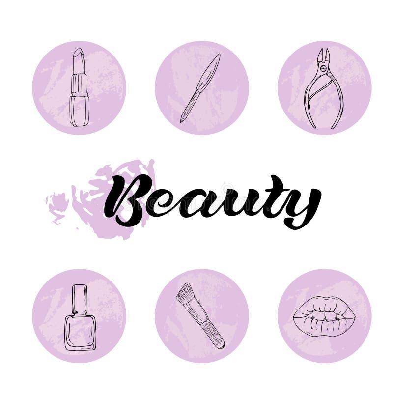 Belleza y sistema de los iconos del cuidado del cuerpo ilustración del vector