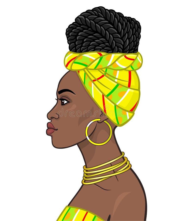 Bellezza africana: ritratto di animazione di bella donna di colore in un turbante e nelle Afro-trecce dell'acconciatura royalty illustrazione gratis