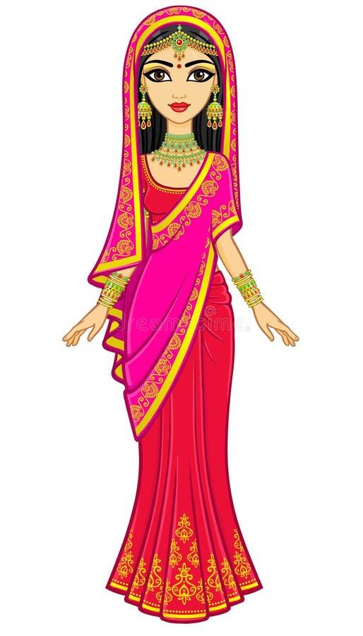 Bellezza asiatica Ritratto di animazione di giovane ragazza indiana in vestiti tradizionali Principessa di fiaba illustrazione di stock