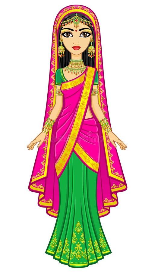 Bellezza asiatica Ritratto di animazione di giovane ragazza indiana in vestiti tradizionali Principessa di fiaba royalty illustrazione gratis