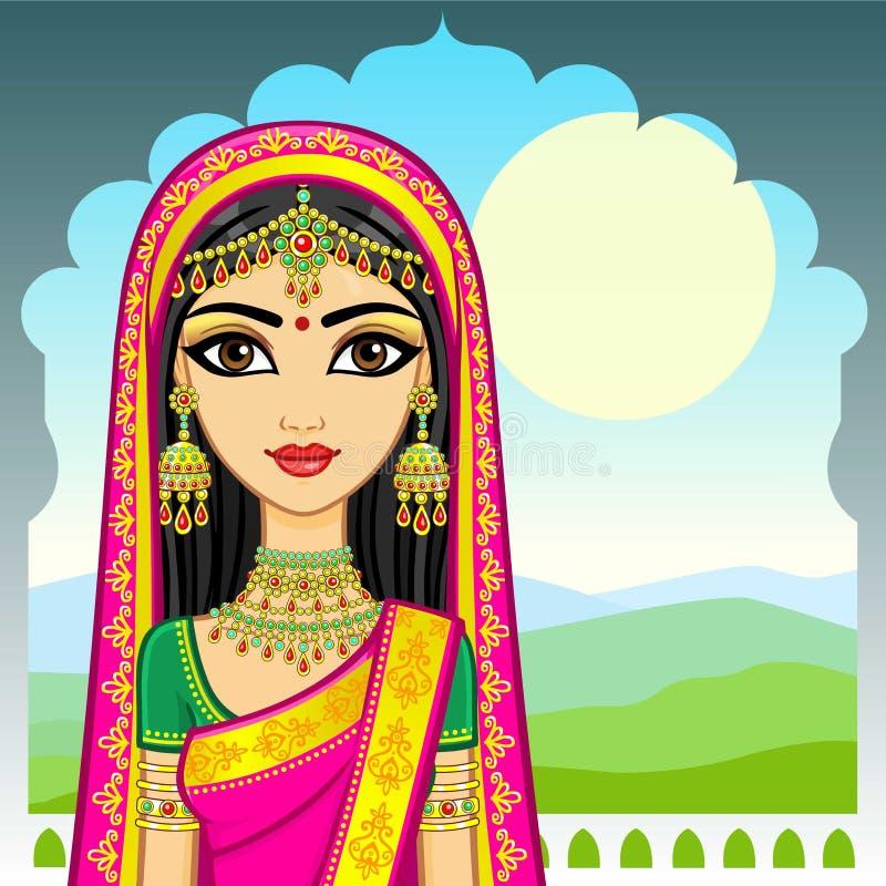 Bellezza asiatica Ritratto di animazione di giovane ragazza indiana in vestiti tradizionali Principessa di fiaba illustrazione vettoriale