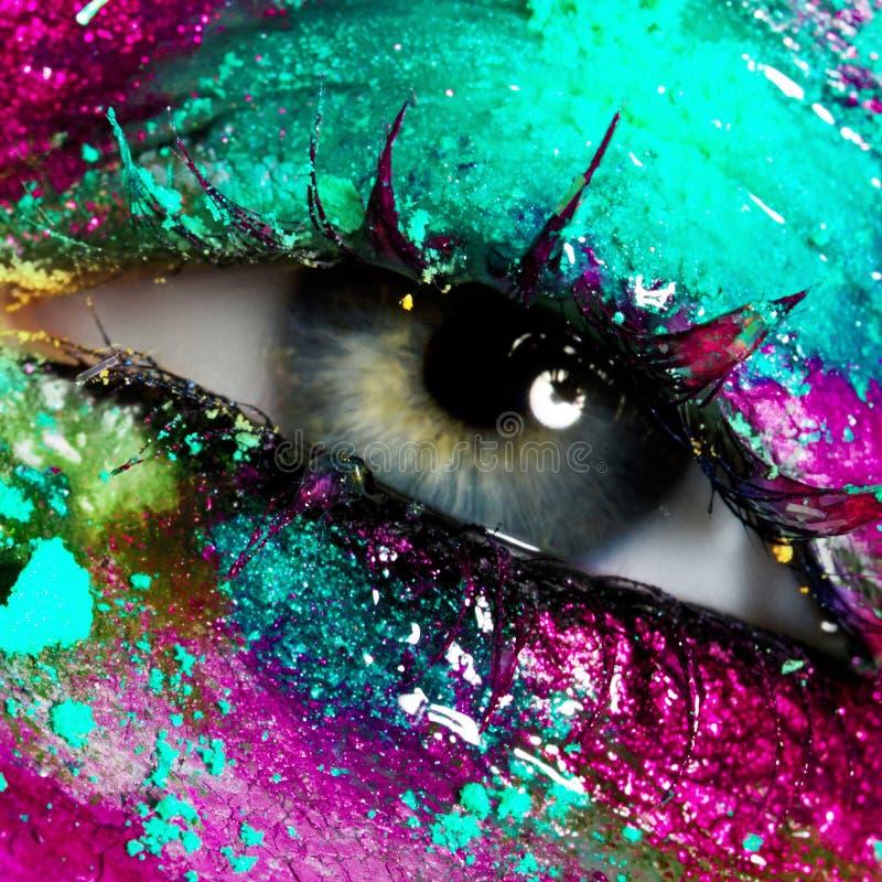 Bellezza, cosmetici e trucco Trucco creativo luminoso fotografie stock libere da diritti