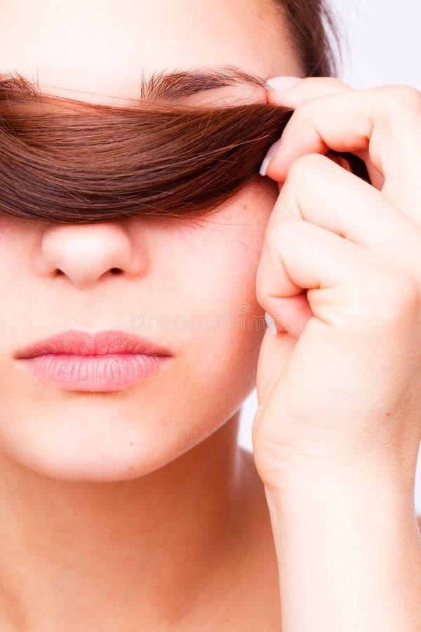 Bellezza dei capelli facciali fotografia stock libera da diritti