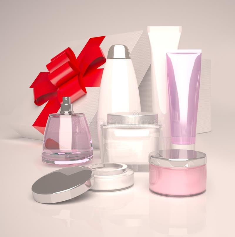 Bellezza di cura di pelle Insieme del regalo dei cosmetici fotografia stock libera da diritti