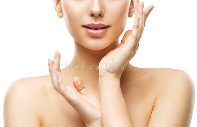 Bellezza di cura di pelle, labbra del fronte della donna e mani, Skincare naturale immagini stock libere da diritti