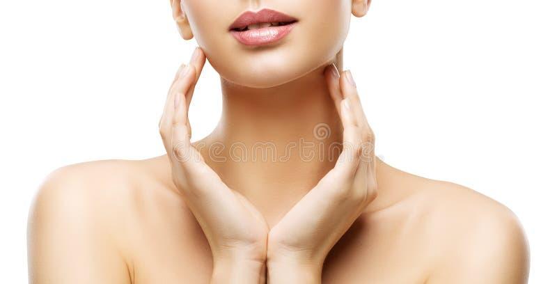 Bellezza di cura di pelle, labbra della donna e mani Skincare, ente sano fotografia stock libera da diritti