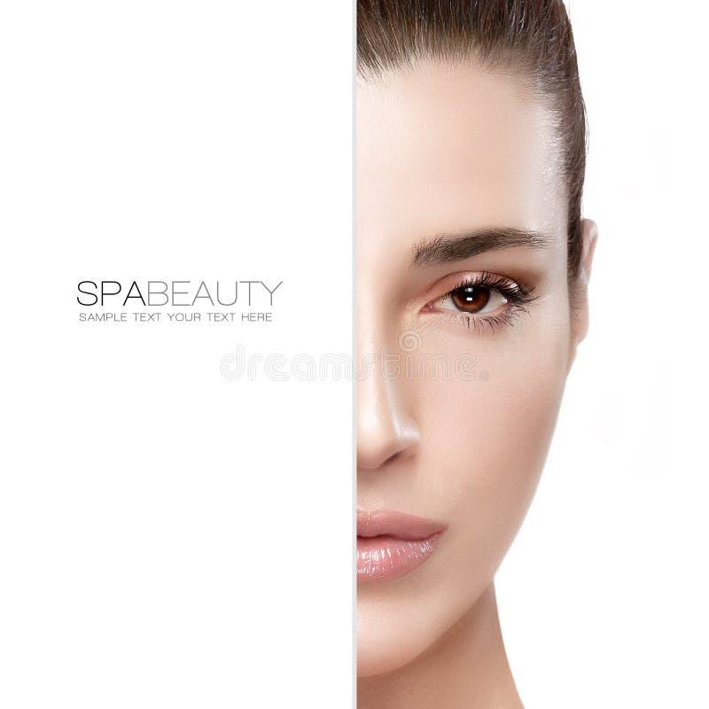 Bellezza e concetto dello skincare Mezzo ritratto del fronte fotografia stock libera da diritti
