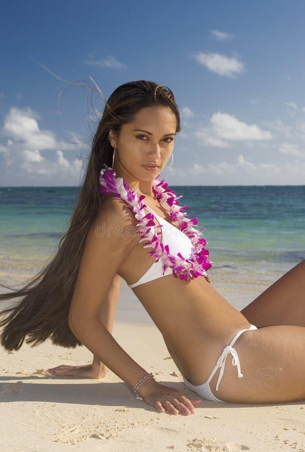 Bellezza hawaiana sulla spiaggia fotografia stock libera da diritti