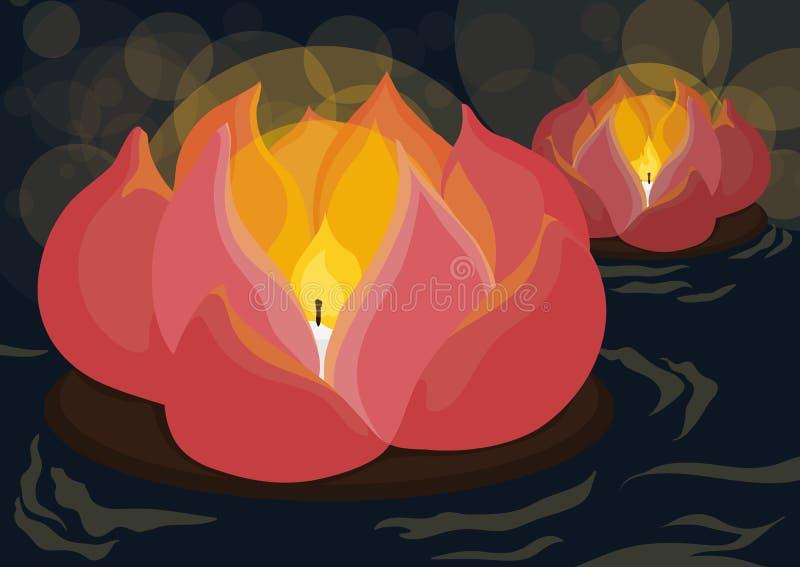 Bellezza Lotus Lantern per celebrare festival di fantasma, illustrazione di vettore illustrazione di stock