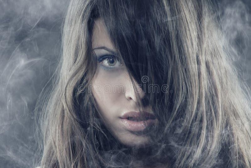 Bellezza nel fumo immagine stock