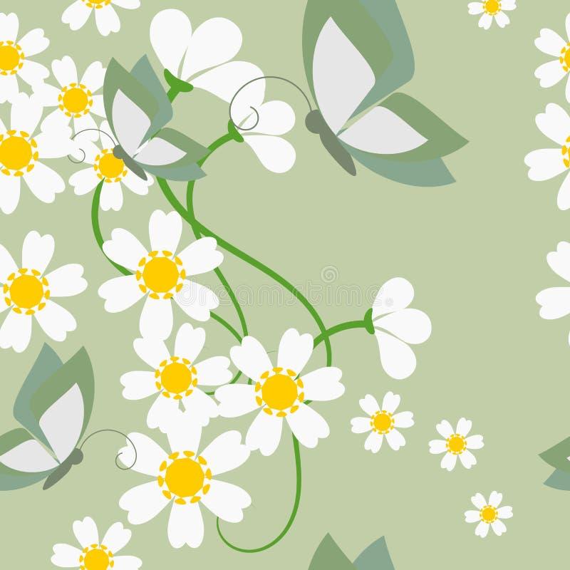 Bellezza nella natura, in margherita minuscola e nel modello senza cuciture delle farfalle illustrazione di stock