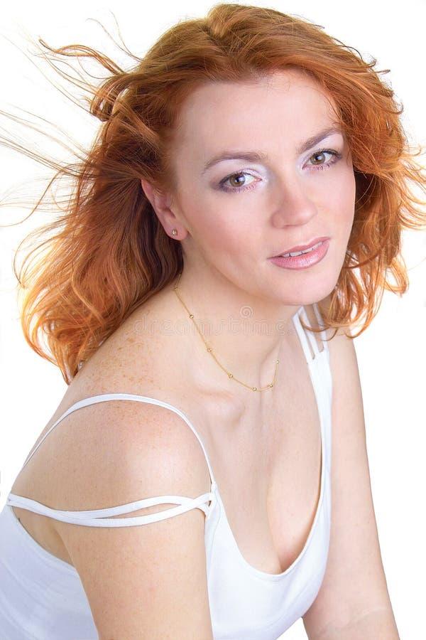 Bellezza rossa dei capelli fotografia stock