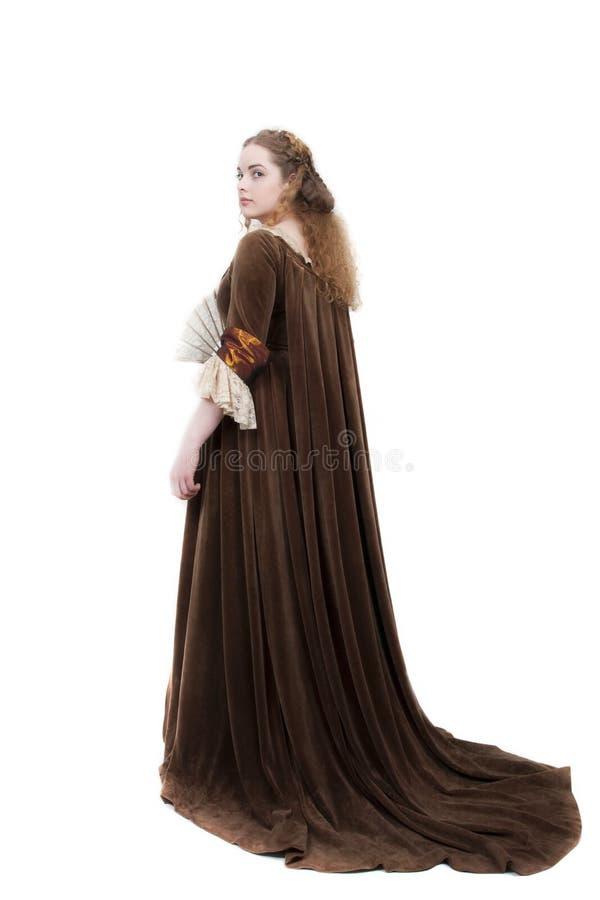 Bellezza in vestito medioevale fotografie stock libere da diritti