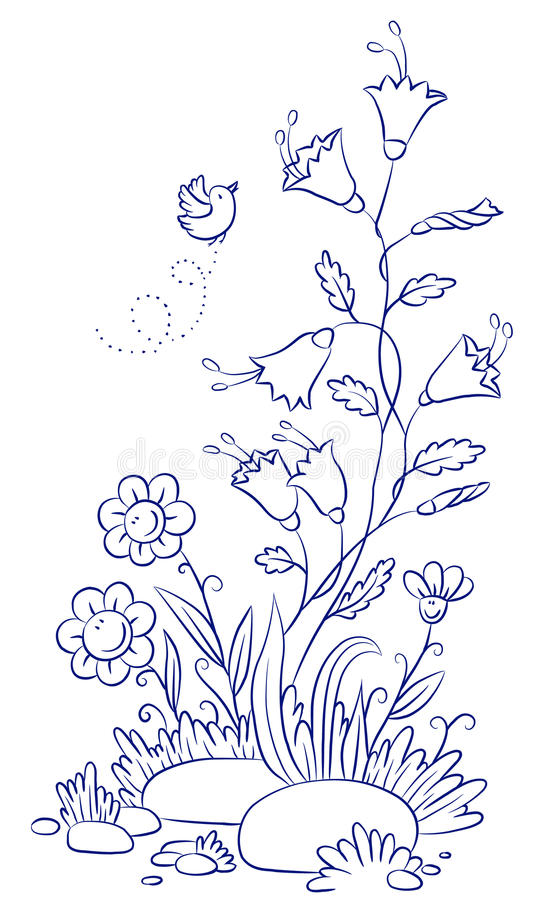 Bellflower with chamomiles and bird stock illustration