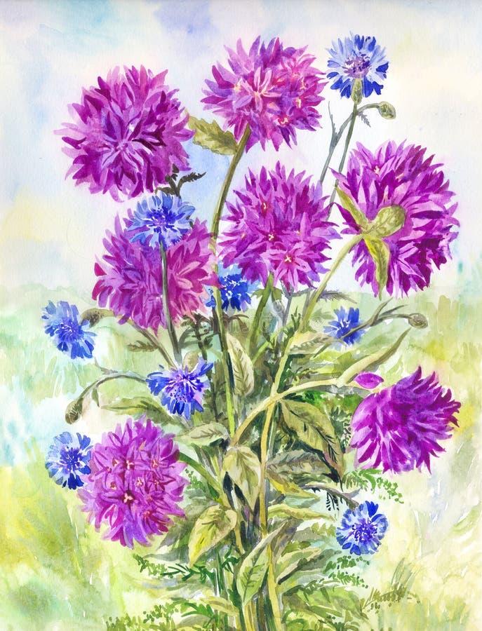 Bellflowers do roxo da aquarela Fundo do vintage com wildflowe ilustração do vetor