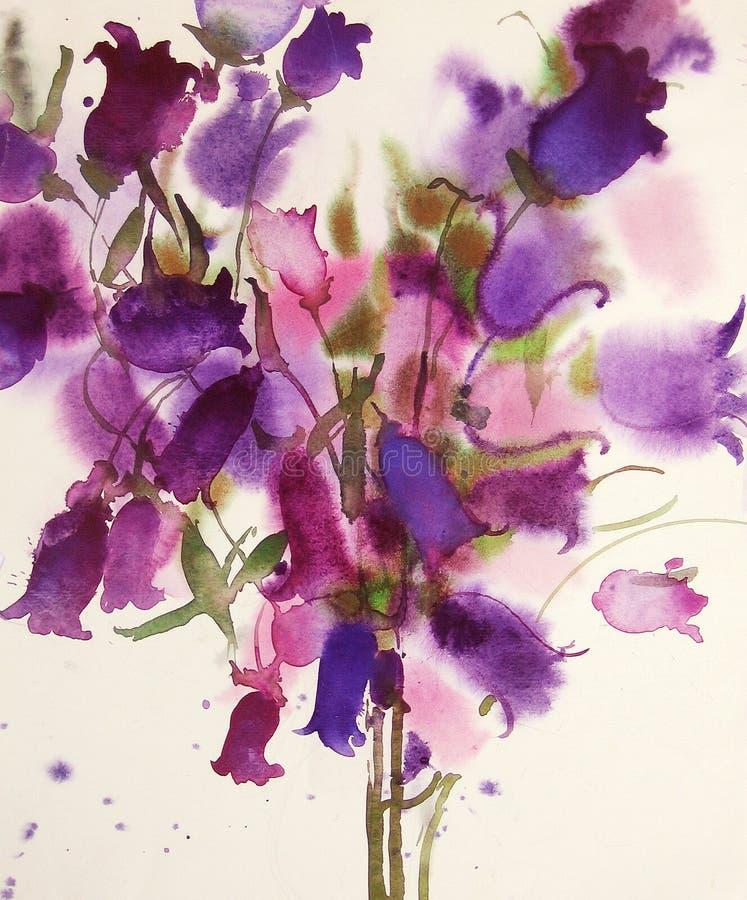 Download Bellflowers, watercolor stock illustration. Image of campanula - 17108393