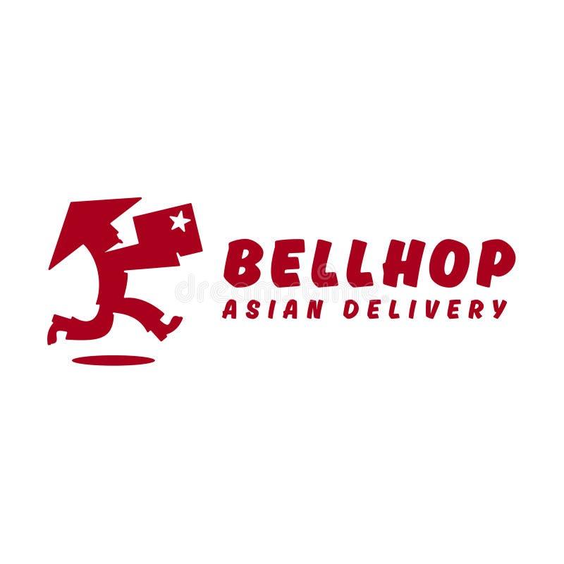 Bellhop deliveryman bieg prędkości Azjatycka dostawa ilustracja wektor
