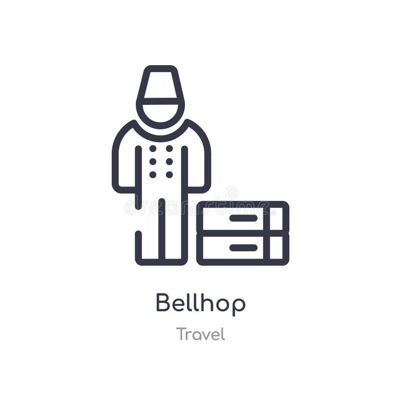 bellhop konturu ikona odosobniona kreskowa wektorowa ilustracja od podr??y kolekcji editable cienieje uderzenia bellhop ikonę na  ilustracja wektor