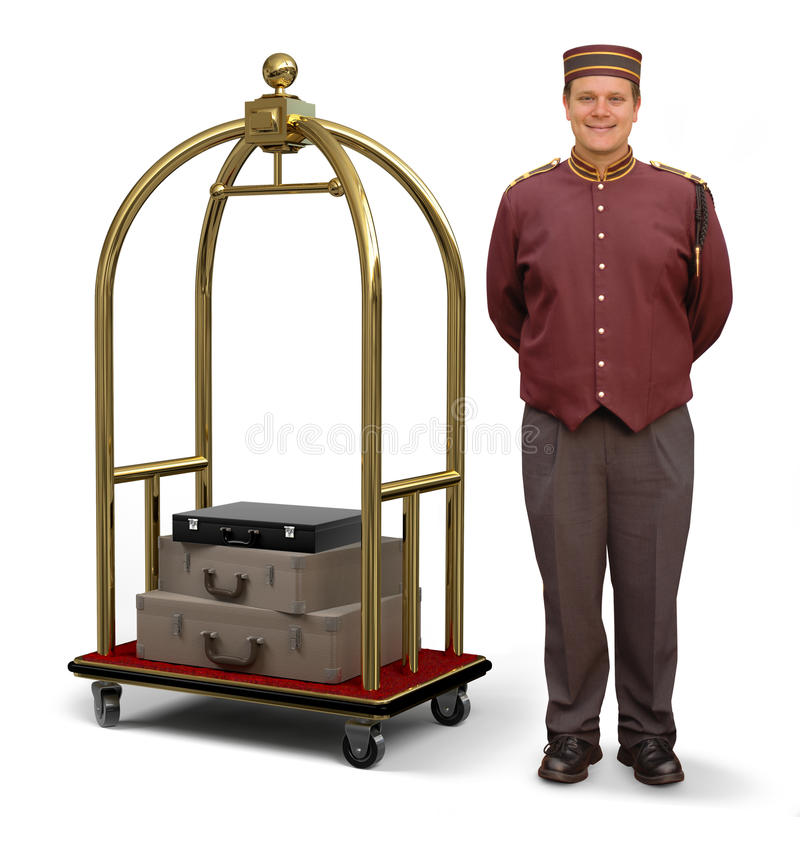 Free Bellhop With Luggage Cart Royalty Free Stock Image - 11185436