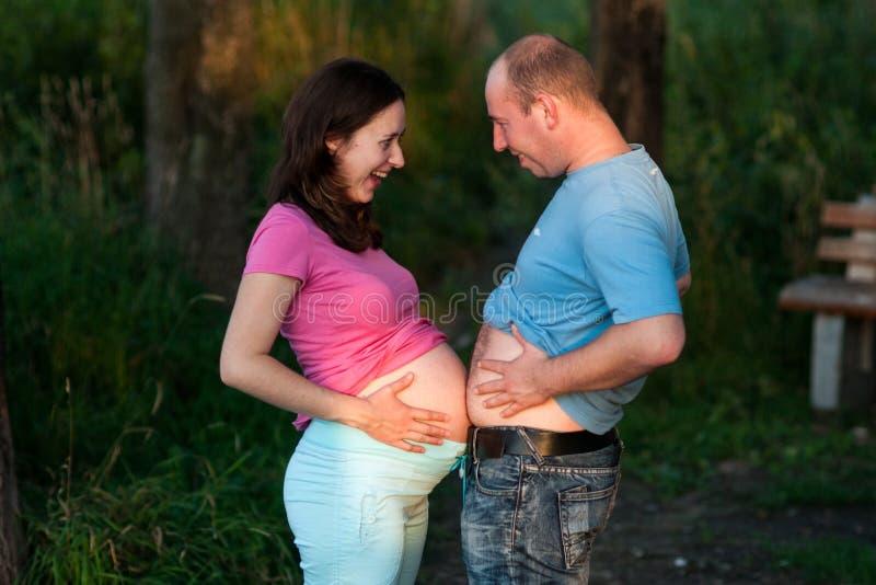 Bellies couple royalty free stock photo