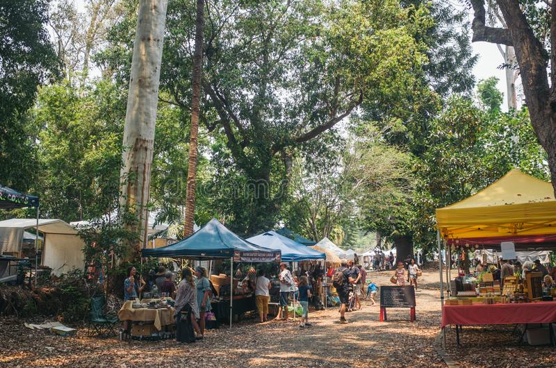 Bellingen valley town, NSW, Αυστραλία, 2019 Αγορές του Σαββάτου στοκ φωτογραφία με δικαίωμα ελεύθερης χρήσης