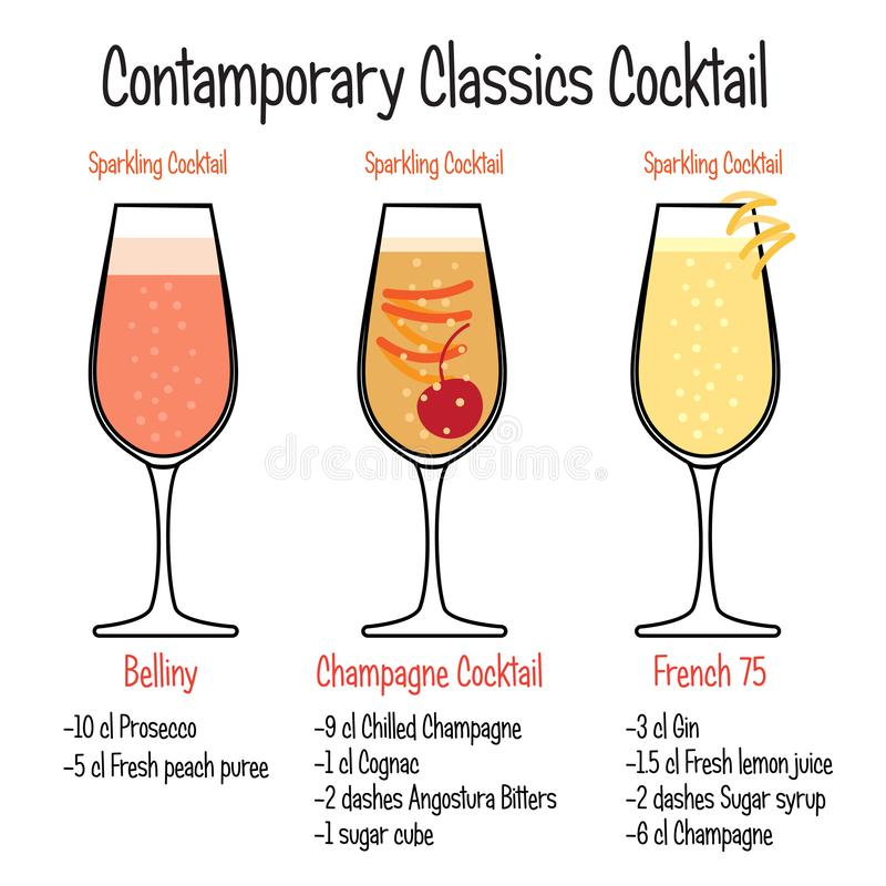 Belliny cocktail, french and champagne cocktail recipe stock illustration